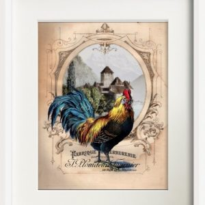 French Chateau Roosters Print Set