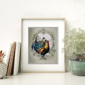 French Chateau Rooster Gray I Art Print