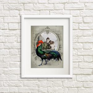 French Chateau Rooster Gray II Art Print