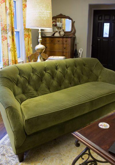 Reupholstered Green Velvet Couch