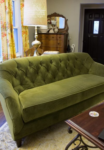 Reupholstered Green Velvet Couch